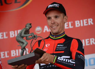 Philippe Gilbert with 2014 Amstel Gold Race winners trophy