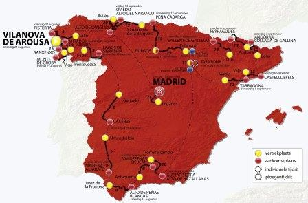 Map of Vuelta for cycling betting