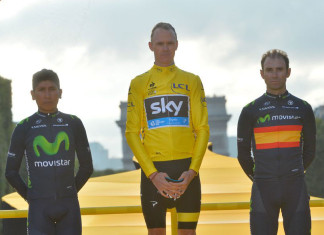 2015 Tour de France winner Chris Froome, runner up Nairo Quintana and thirs place Alejandro Valverde
