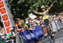 Jack Anderson of Team Budget Forklifts winning the 2013 Grafton to Inverell