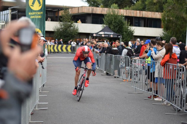 Will Clarke racing to the prologue stage win