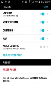 ELEMNT pages, Lap, Workout, Climbing and Map plus KICKR control if you have one