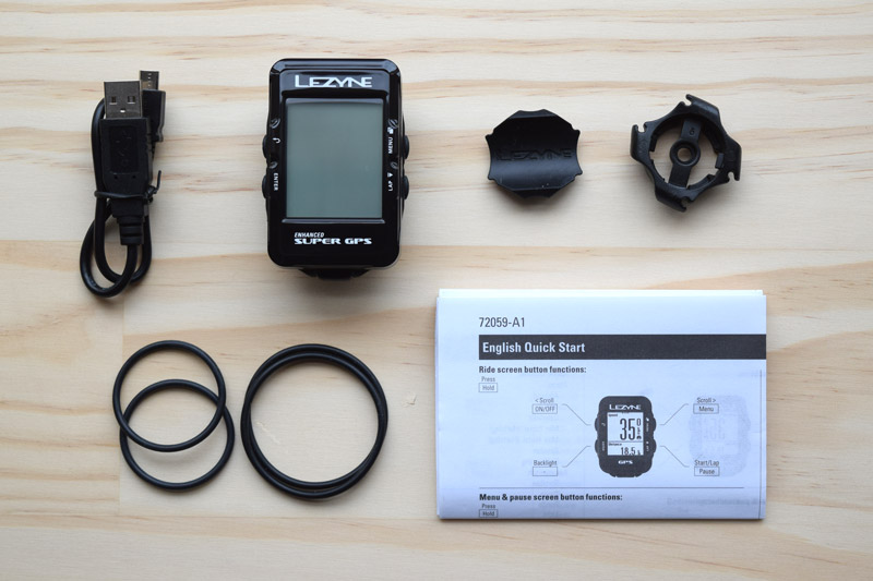Lezyne Super GPS package contents
